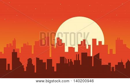 Silhouette of urban scenery at afternoon illustration