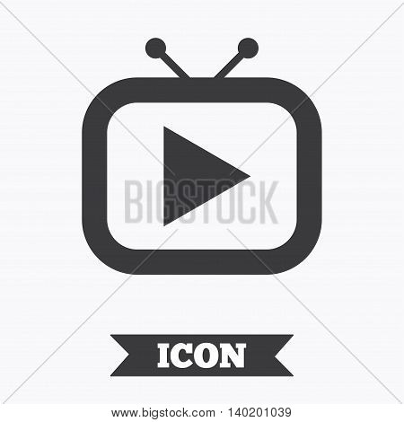 Retro TV mode sign icon. Television set symbol. Graphic design element. Flat tV mode symbol on white background. Vector