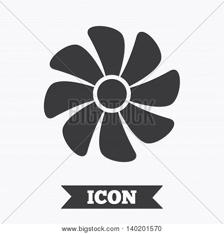 Ventilation sign icon. Ventilator symbol. Graphic design element. Flat ventilation symbol on white background. Vector