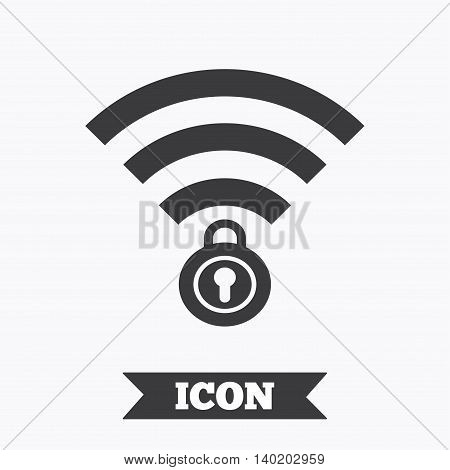 Wifi locked sign. Password Wi-fi symbol. Wireless Network icon. Wifi zone. Graphic design element. Flat wifi symbol on white background. Vector