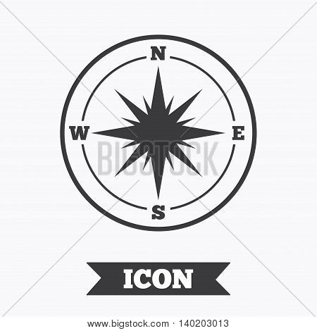 Compass sign icon. Windrose navigation symbol. Graphic design element. Flat windrose compass symbol on white background. Vector