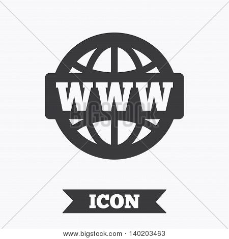 WWW sign icon. World wide web symbol. Globe. Graphic design element. Flat wWW internet symbol on white background. Vector