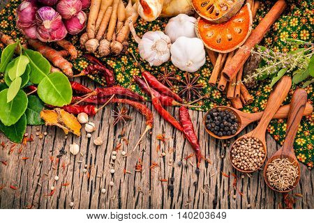 Assortment Of Thai Food Cooking Ingredients .red Curry Paste Ingredients Of Thai Popular Food On Rus