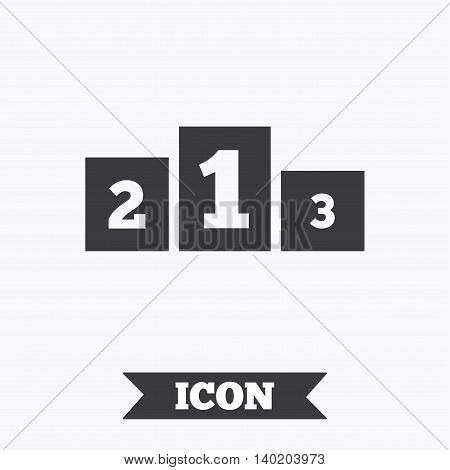 Winners podium sign icon. Awarding of winners symbol. Graphic design element. Flat winners podium symbol on white background. Vector