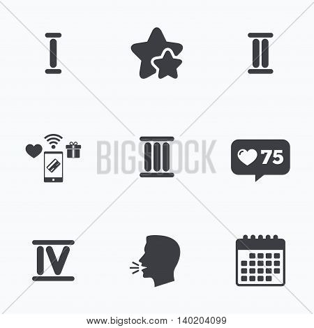 Roman numeral icons. 1, 2, 3 and 4 digit characters. Ancient Rome numeric system. Flat talking head, calendar icons. Stars, like counter icons. Vector
