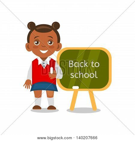 African American schoolgirl standing at a blackboard. Cartoon schoolgirl isolated on white background. Back to school. Vector eps 10 format.