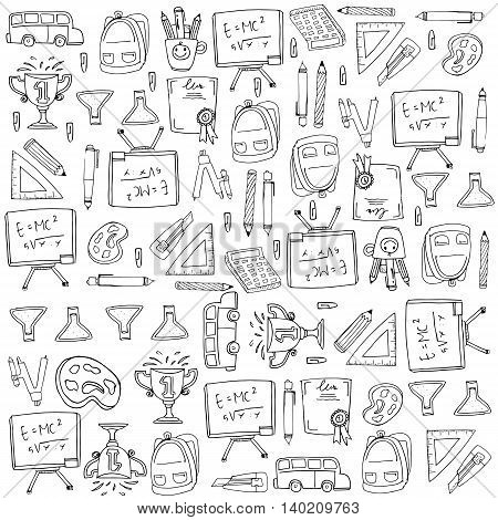 Collection stock many object school doodles illustration