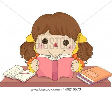 Illustration of a Female Rag Doll Reading a Book