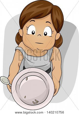 Illustration of a Shabby Girl Begging for Food