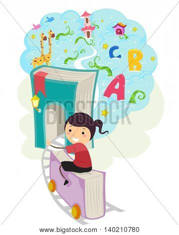 Whimsical Illustration of a Little Girl Riding a Train Coach Shaped Like a Book