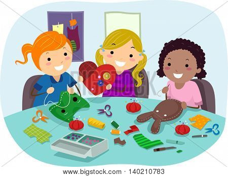 Stickman Illustration of Little Girls Making Party Crafts