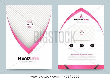 Pink white Business annual report brochure flyer design template vector Leaflet cover presentation abstract geometric background modern publication poster magazine layout in A4 size