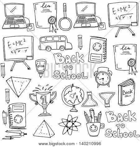 Hand draw onject school doodles stock vector