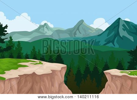 beauty mountain cliff with pine forest landscape background