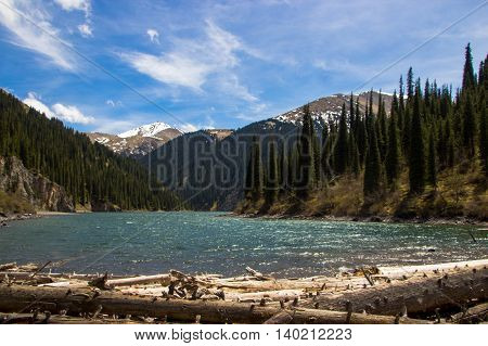 Kolsay Lake in Tien Shan mountain system Kazakhstan