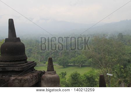 Beautiful View From Borobudur Temple Central Java