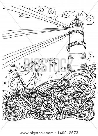 Sketch of Light house for coloring book for adult, anti stress coloring. Nautical theme. Vector background.