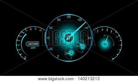 Speedometer, tachometer, fuel and temperature gauge isolated black background