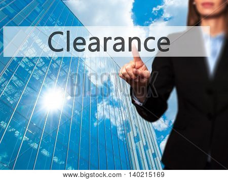Clearance - Businesswoman Pressing Modern  Buttons On A Virtual Screen