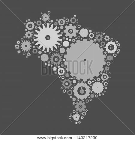 Brasil map silhouette mosaic of cogs and gears. Grey vector illustration on gray background.