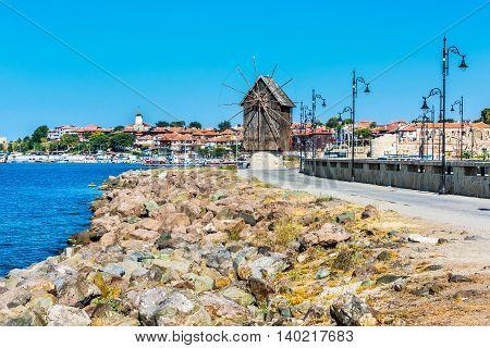 Windmill and old town panorama in Nessebar or Nesebar in Bulgaria, Black sea