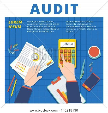 Audit and financial analysis vector concept. Accountant working proccess illustration poster