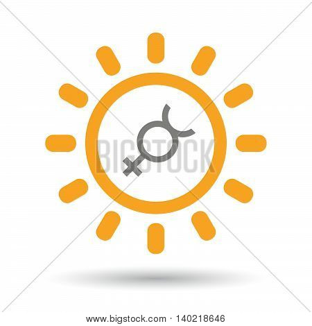 Isolated Line Art Sun Icon With  The Mercury Planet Symbol