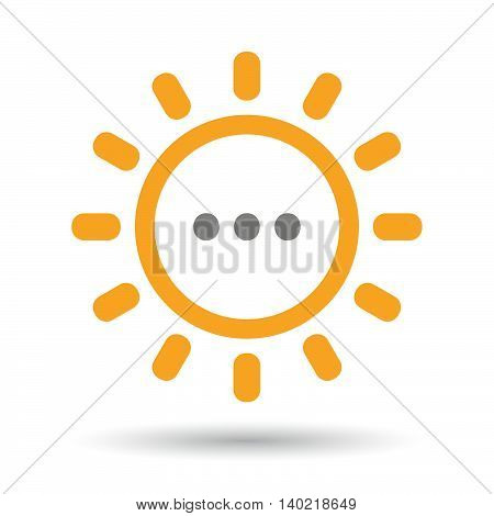 Isolated Line Art Sun Icon With  An Ellipsis Orthographic Sign