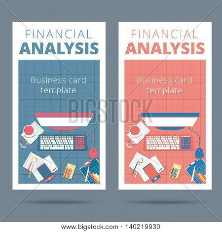 Financial analysis vector business card concept. Audit and accounting proccess illustration poster
