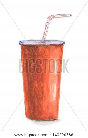 Watercolor cola cup. Isolated red cola cup with sraw on white background. Tasty beverages like cola, juice, lemonade and more.