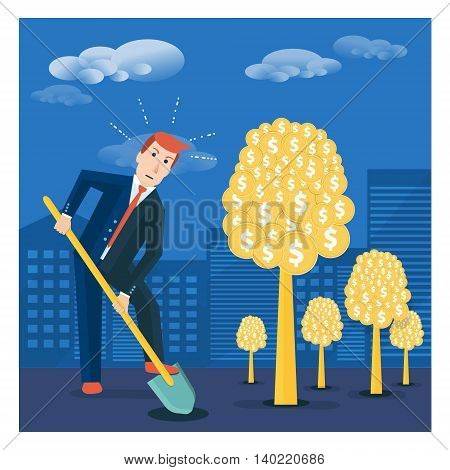 Businessman digging ground to plant money tree. Financial investment or shareholder vector concept illustration in flat style