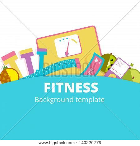 Fitness or diet vector background illustration design. Weight control or healthy lifestyle banner concept