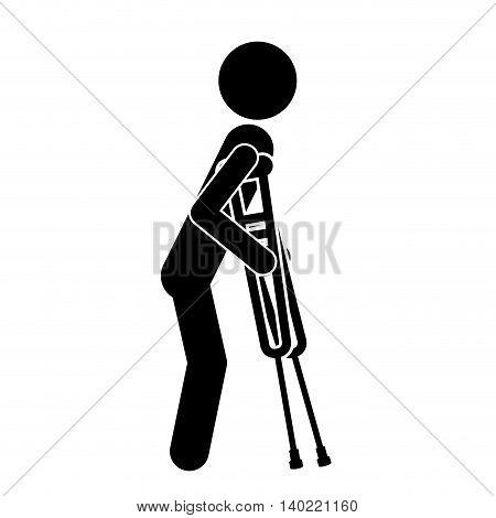 crutches person invalidates isolated icon design, vector illustration  graphic