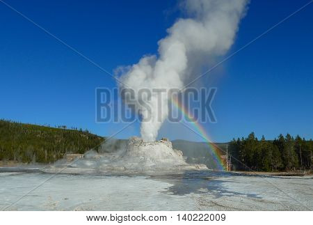Rainbow at Castle Geyser in Yellowstone National Park, WY