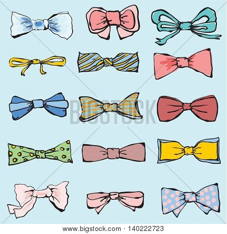 Vector Set of hand-drawn neckties. Cute neckties