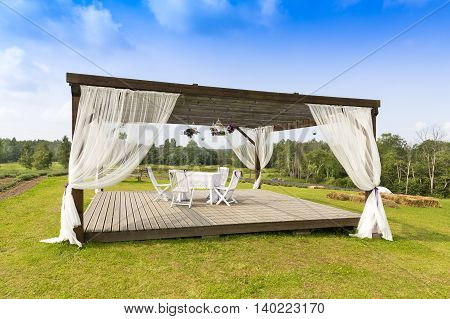 romantic tranquil scene with pergola on the hill poster