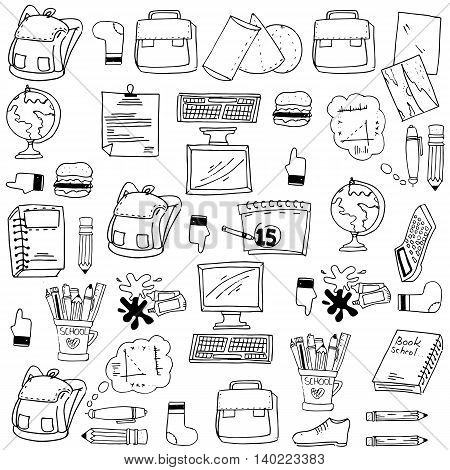 Many object school doodles stock vector collection