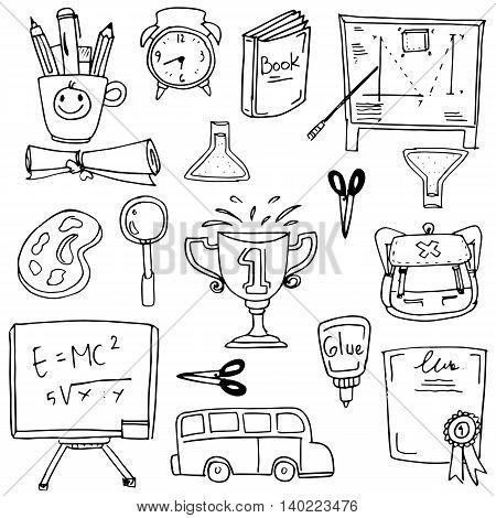Collection stock school supplies doodles vector illustration