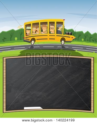 Back to School. Yellow School Bus in Cartoon Style with Pupils and Copy Space. Back to School Concept with Black Chalk Board.