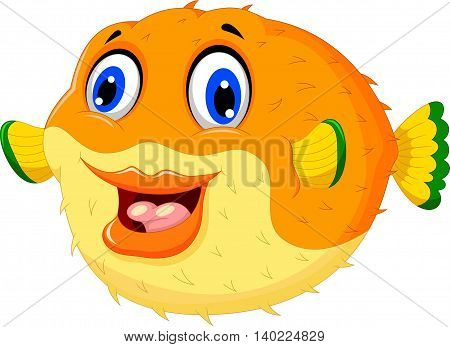 funny puffer fish cartoon swimming with smiling