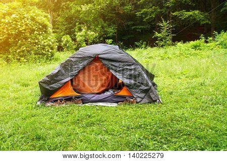 View of tent on meadow in forest. Camping background. Camping and tent. Tourist tent in forest with sunbeams at campsite. Camping in nature park in summer. Adventure travel active lifestyle freedom outdoors.