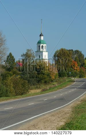 Orthodoxy church and road, Russia, Moscow region