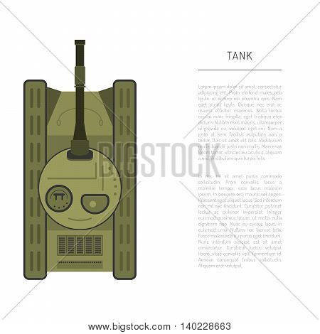 Armored car tank top view with the artillery cannon and vector illustration in flat style.