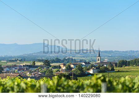 Village of Saint Etienne des Oullieres of Beaujolais Burgundy France