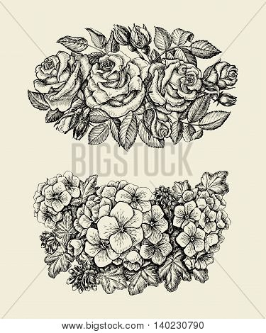 Flowers. Hand-drawn sketch flower, roses, geranium, floral pattern Vector illustration
