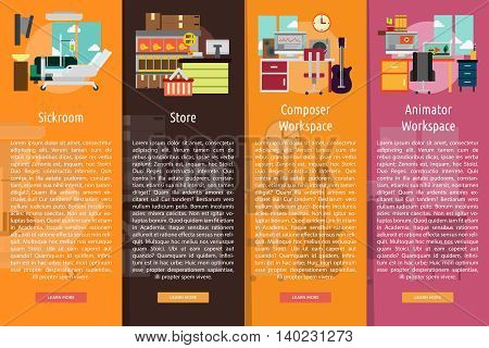 Building Interior Vertical Banner Concept | Set of great vertical banner flat design illustration concepts for building, interior, furniture, architecture, and much more.
