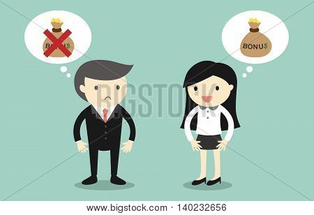 Business concept, Business woman thinking about bonus but boss thinking about won't give bonus to her.