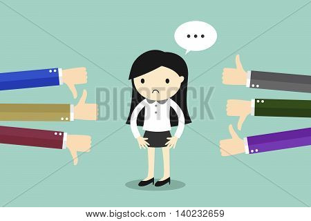 Business concept, Business woman get feedback from other people. Vector illustration.