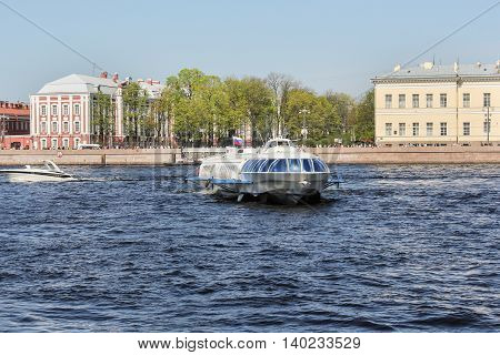 St. Petersburg, Russia - 9 May, Tour hydrofoil ship on the river, 9 May, 2016. Travel types of summer Saint-Petersburg along the Neva River.