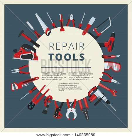 Set of vector home repair toold instruments and equipment. Household work tackle icons collection